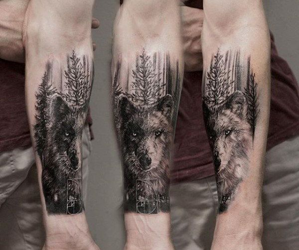 Wolf In Forest Mens Forearm Tree Tattoo Design Ideas