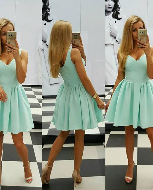 Prom Dresses 2017, Short Prom Dresses, 2017 Prom Dresses, Sexy Prom dresses, Prom Dresses Short, Prom Short Dresses, Homecoming Dresses 2017, Short Homecoming Dresses, Sleeveless Homecoming Dresses, Sage Sleeveless Homecoming Dresses, Sexy Homecoming Dress Sage V-neck Satin Short Prom Dress Party Dress