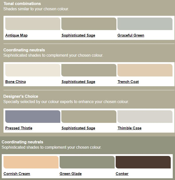Some dulux colour palettes I like - cream splashback tiles, green in the kitchen, cream in the living room - then either the thistle or the conker as a main colour in the furntiure?