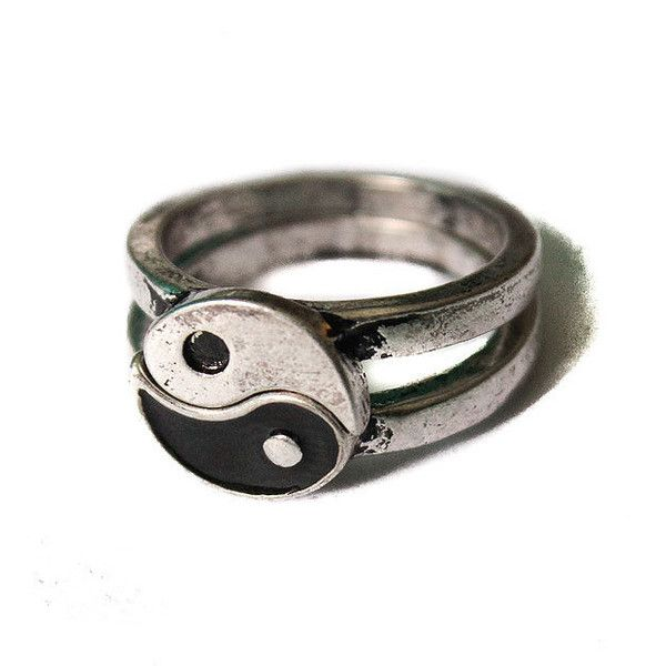 Yin Yang ring Friendship Vintage overstock splits in two. Brushed... ($14) ❤ liked on Polyvore featuring jewelry, rings, accessories, vintage jewelry, yin yang jewelry, yin yang ring, vintage rings and antique silver rings