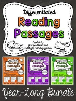 This product includes 108 PASSAGES with comprehension activities... 36 WEEKS of passages, 3 levels per week. (1-Emergent, 2-Growing, 3-Established)Passages are labeled by week and by level for quick and easy printing and sorting!Excellent for leveled homework, small groups, or assessment.