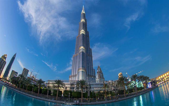 壁紙をダウンロードする ブルジュハリファ, 4k, パノラマ, 近代ビル, 高層ビル群, UAE, ドバイ