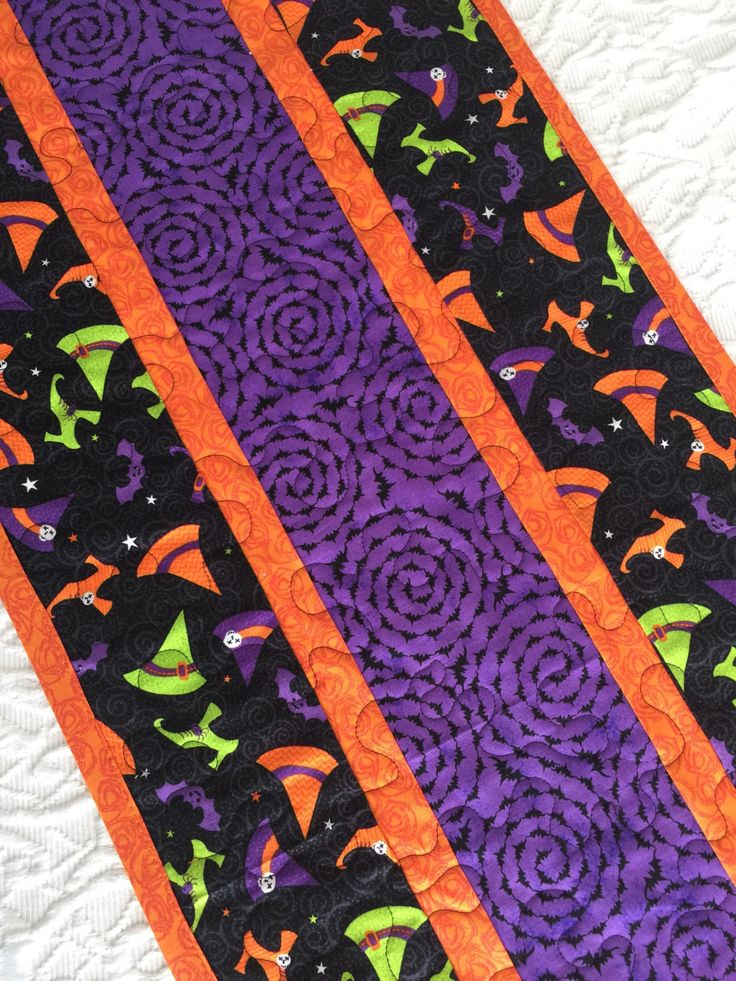 Halloween Witch Table Runner Quilt,  Witch Shoes, Hats Table Centerpiece, Black, Orange, Purple, Quiltsy Handmade by KeriQuilts on Etsy