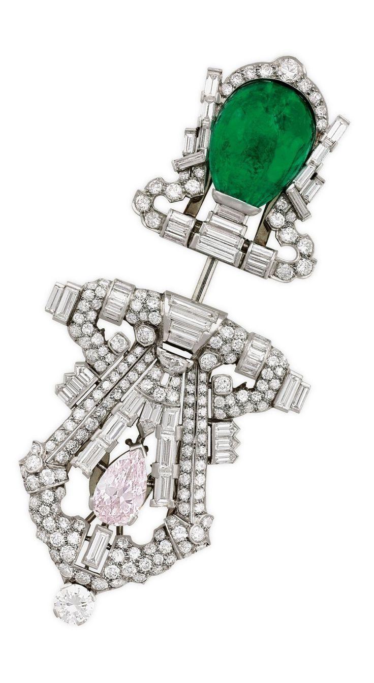 Ein Kunst Deko Emerald Farbige Diamant Und Diamant Jabot Brosche