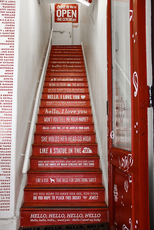 """furples:    Opening Ceremony Staircase    Staircase from the Opening Ceremony store in Soho, NYC quoting the Doors song """"Hello I Love You""""."""