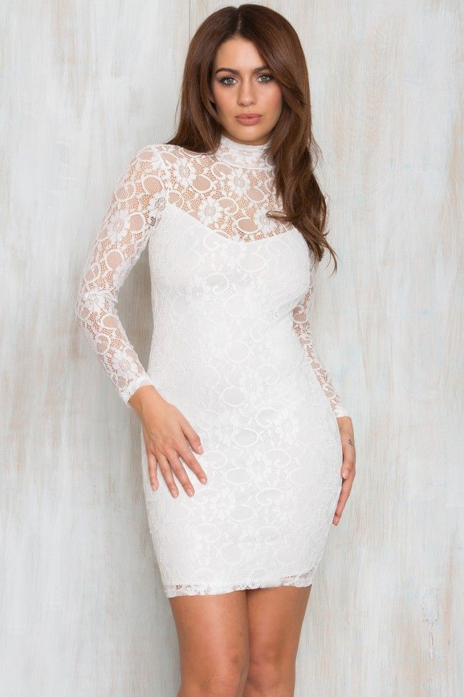 Keep Rising Turtle Neck Lace Dress White
