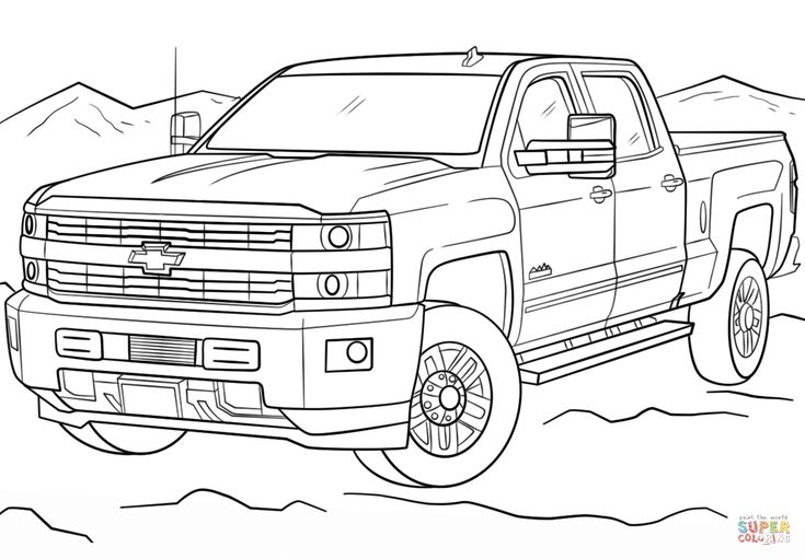 #chevy #coloring #pages #trucks #2020 | Truck coloring ...