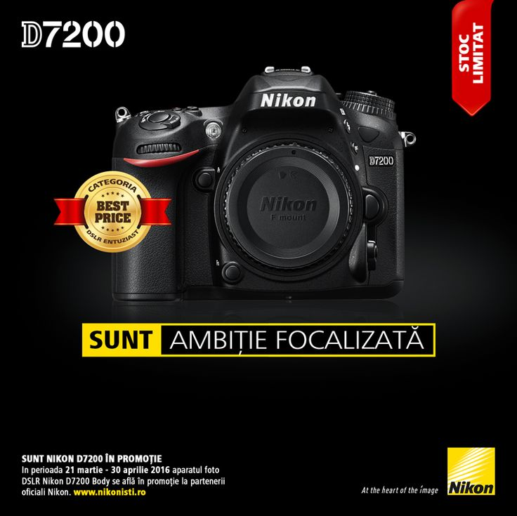 In perioada 21 martie - 30 aprilie 2016 aparatul foto DSLR Nikon D7200 Body se afla in promotie la partenerii oficiali Nikon.