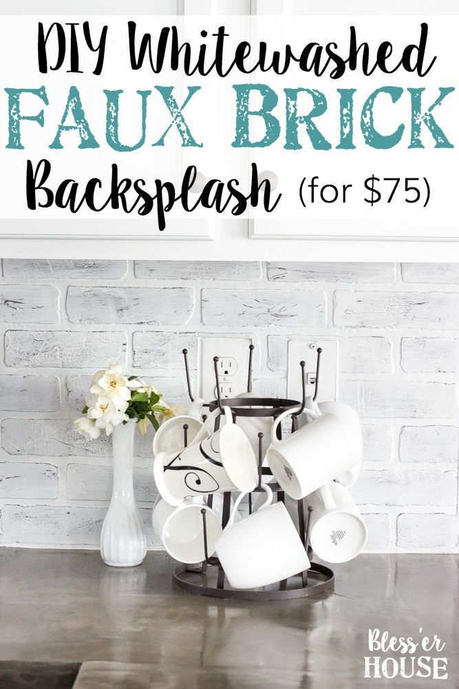 DIY Whitewashed Faux Brick Backsplash   blesserhouse.com - A quick and inexpensive way to spruce up a dated…