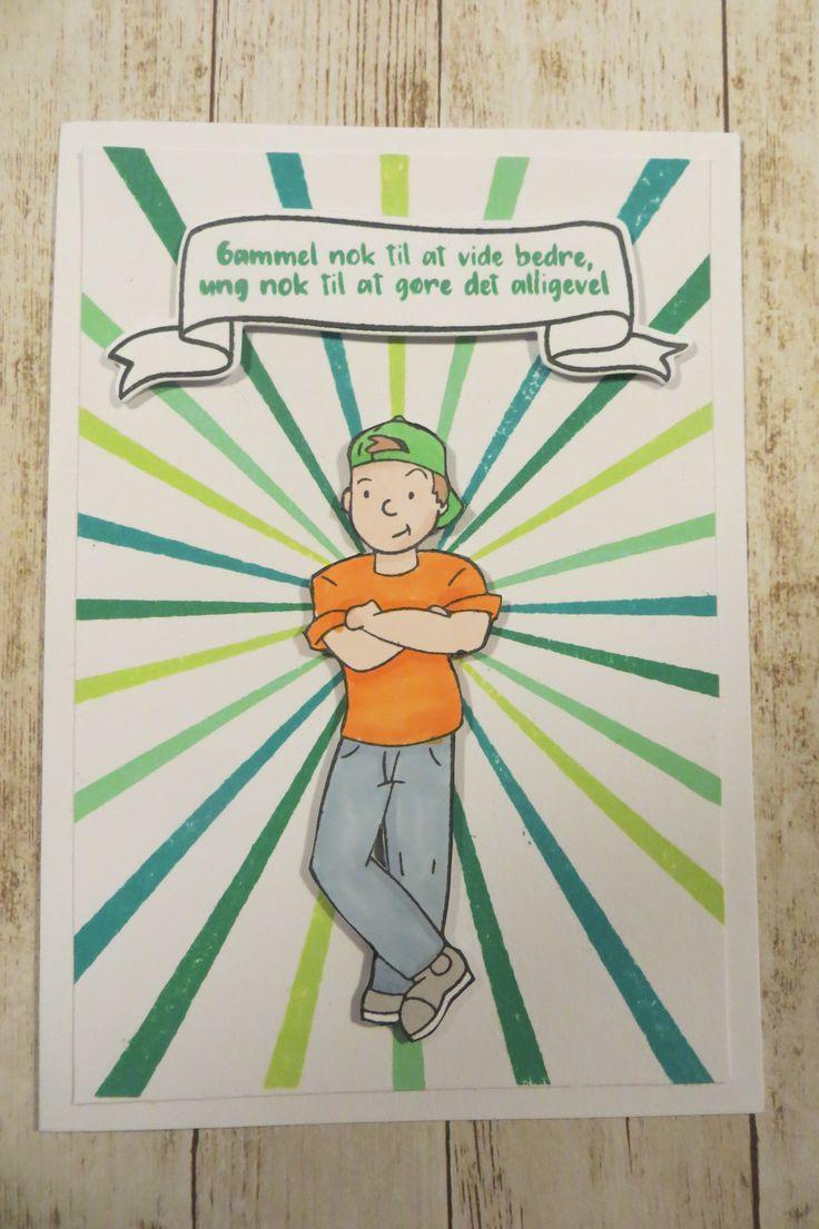 stemplet Teenage Drenge af NHH Design. kortet er lavet af Solveig Heldt