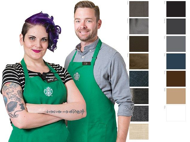 Personalized: Starbucks has relaxed its uniform requirements - inviting staff to 'open your closets and have fun' in a 'look book',…