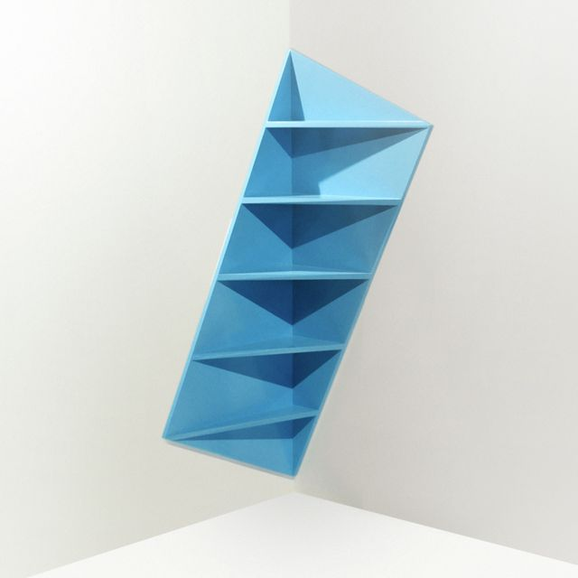 angular corner shelving idea. interesting when light plays on it. Trieta Corner Shelf by Marc Kandalaft