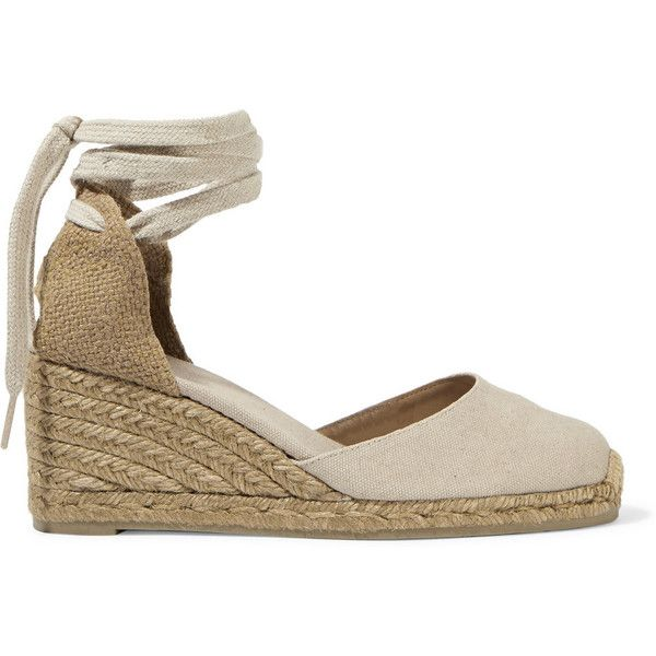 Castañer Carina canvas wedge espadrilles ($110) ❤ liked on Polyvore featuring shoes, sandals, wrap sandals, espadrille wedge shoes, wedges shoes, espadrilles shoes and espadrille wedge sandals