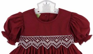 Le' Za Me cranberry smocked dress with antique white smocked waist,cranberry smocked Christmas dress for baby girls,cranberry smocked Christ...