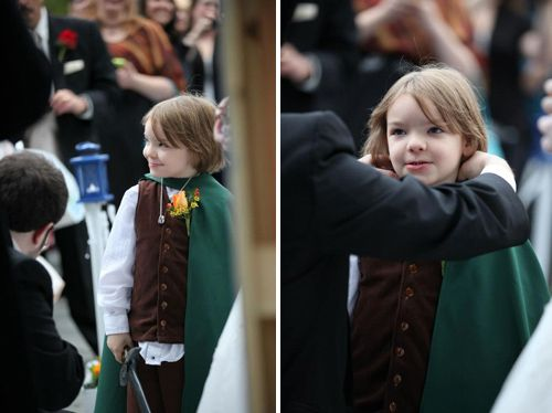 the ring bearer dressed up as frodo totally geeking out right now - Wedding Ring Bearer