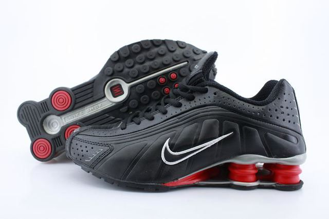 Mens Nike Shox R4 Black Red Column Shoes www.likeshoxshoes.com