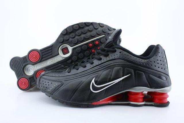 Mens Nike Shox R4 Black Red Column Shoes www.likeshoxshoes.com