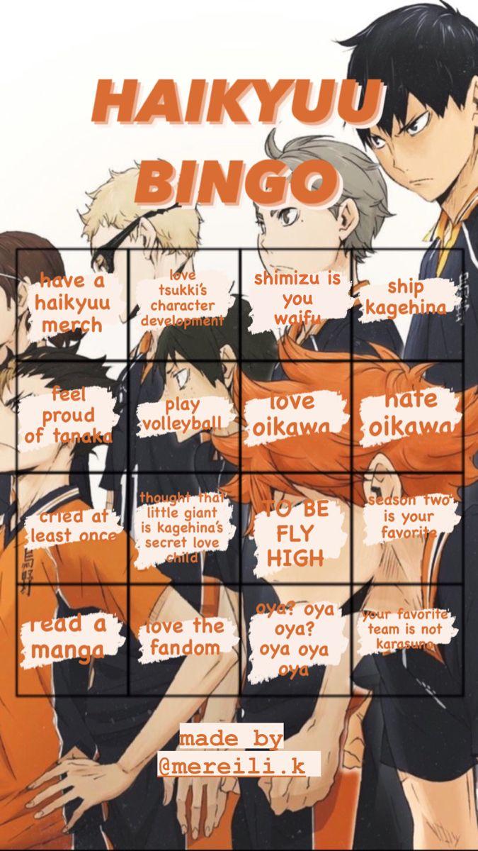 Haikyuu Haikyuu Bingo Haikyuu Characters