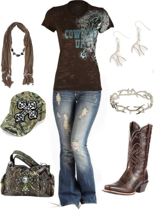 """camo cowgirl"" by countryluver2013 ❤ liked on Polyvore Could care less about the camp but the other stuff I like!!"