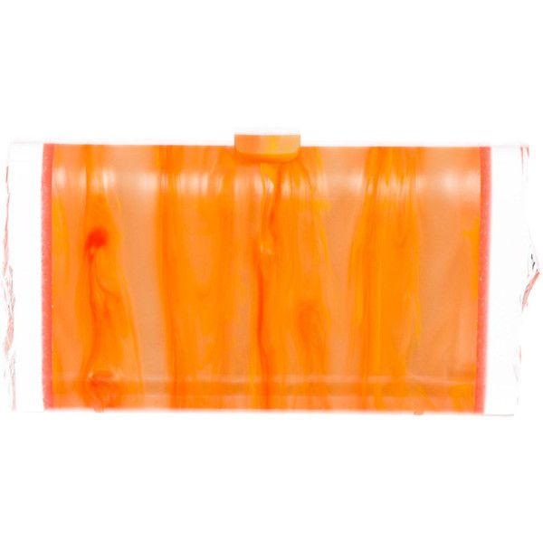 Pre-owned Edie Parker Lara Backlit Clutch (2.770 DKK) ❤ liked on Polyvore featuring bags, handbags, clutches, orange, neon clutches, acrylic handbag, preowned handbags, hand bags and lucite handbags