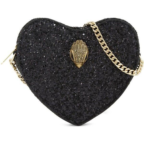 Kurt Geiger London Glitter mini heart cross-body bag ($76) ❤ liked on Polyvore featuring bags, handbags, shoulder bags, glitter purse, shoulder strap handbags, crossbody purses, heart purse and mini shoulder bag