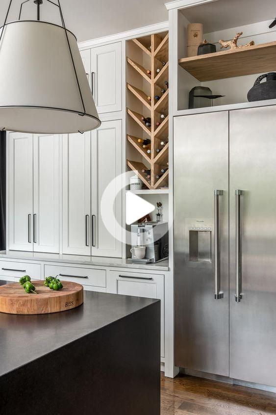 beautiful kitchen design with integrated wine rack - millworks #kitchendecoration in 2020