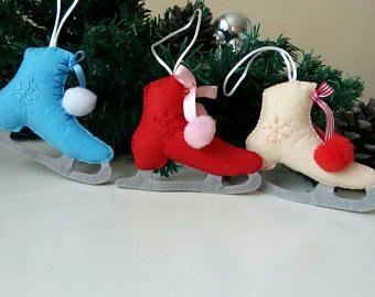 Ice skates. Set of 3 Felt ornament. Christmas tree ornament. Christmas decor. Felt winter decoration. Winter ornament. Christmas baby.
