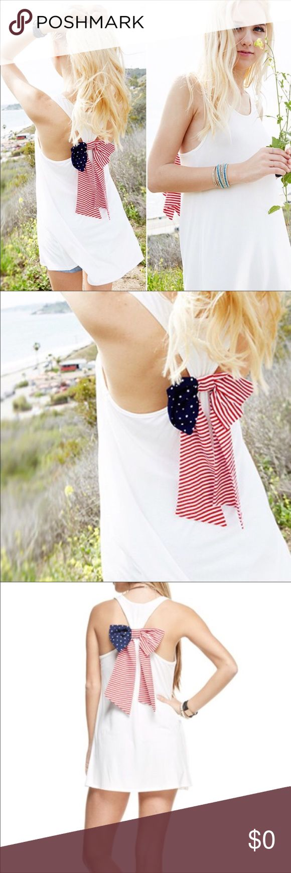 COMING SOON!! 🇺🇸 Americana Racerback Tunic🇺🇸 White Racerback Tunic Tank with American flag print bow on back. Super comfy & stretchy. Twilight Gypsy Collective Tops Tank Tops
