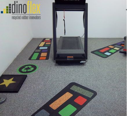 Add visual interest to your space with our wide range of colours and logo cutting abilities. Dinoflex can transform your standard floor into a fun, interactive eye catcher. Visit our website www.dinoflex.com to view some of our custom creations. #Dinoflex #Custom #Logo #Colorful #SportsFloor #UniquelyDifferent