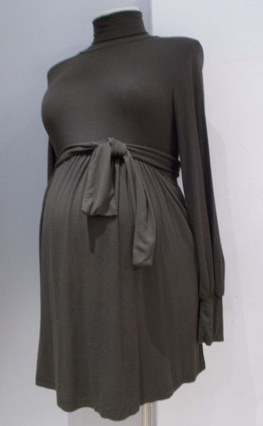 Gently used maternity dress Olian Maternity long sleeve turtleneck dress Brown/Olive green (colour as shown) Matching belt. Pockets. Size: Medium