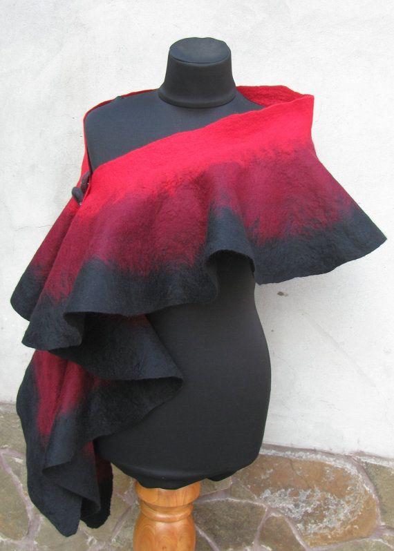 Gothic Handmade wool felted Scarf Shawl Wrap stole cape by ProninA, $83.00