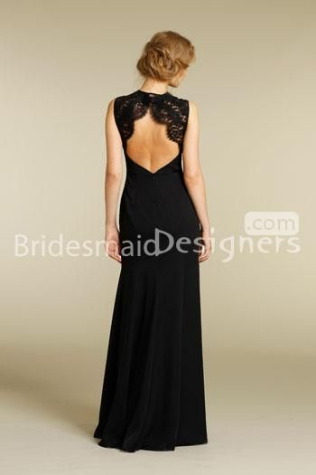 open back black long bridesmaid dress with lace shoulder straps