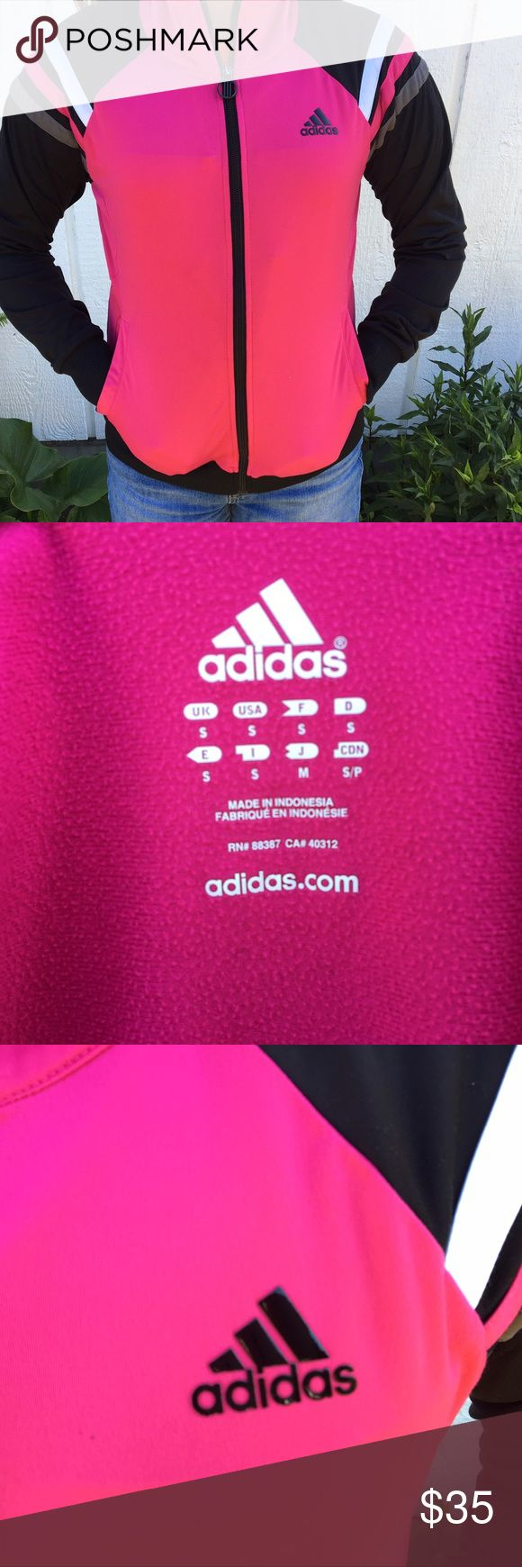 HOT PINK AND BLACK Adidas jacket brand new bright Bright pink and black adidas jacket. Size small and the pink really makes the whole jacket pop. Fits a XS/S and in excellent condition. Worn about 4 times and might be in stores by hard to find the hot pink color. Sporty material and the logo is not worn out and still glossy!! Reasonable offers will be accepted and price is negotiable! adidas Jackets & Coats