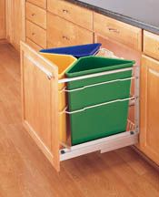 "75+ quart Trash and Recycle center - 3 plastic 25 qt containers + 18qt canvas - 20 1/4"" wide"