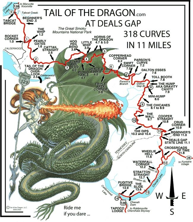 Best Tail Of The Dragon Images On Pinterest Gap Dragon Tail - Us 129 the dragon map