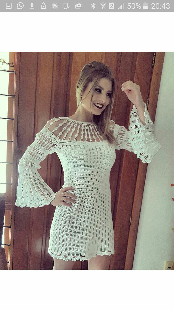 Vestido crochê manga flare @caucrohes