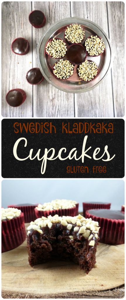 Kladdkaka Cupcakes with a Chocolate Fudge Topping (gluten free). Have you ever tried one of Sweden's most famous cakes, a kladdkaka? If not, have a go at making these in cupcake form. #cupcakes #glutenfree #kladdkaka #Sweden #Swedish #dessert #foodblogger