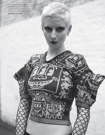 Knitted top (pictured) from Vivienne Westwood's 1983 Witches collection featuring Keith Haring's graffiti art. this is phenomenal! 1980s fashion