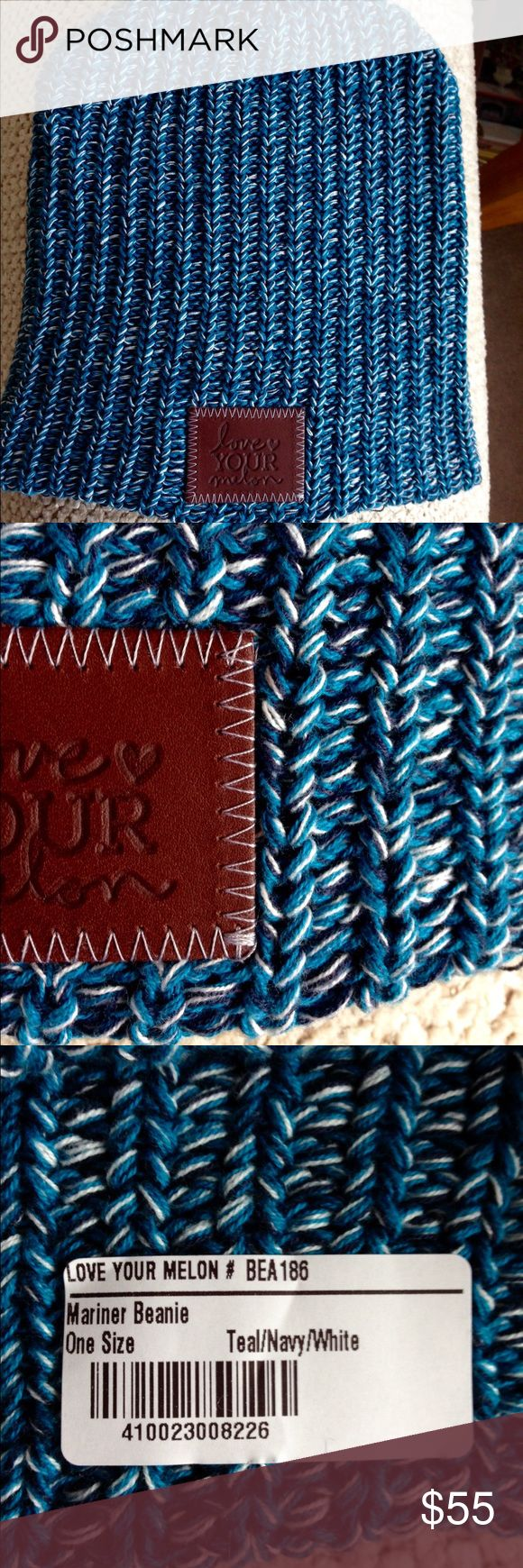 LOVE YOUR MELON BEANIE This is Love Your Melon in Mariner. Adorable beanie in teal, navy, and white. Super cozy and comfortable. Never worn. Love this but I went a little crazy with the spending. Love Your Melon Accessories Hats