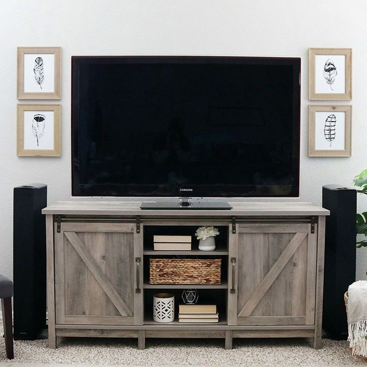 Better Homes Gardens Modern Farmhouse Tv Stand For Tvs Up To 70 Rustic Gray Finish Walmart Com In 2020 Farmhouse Tv Stand Modern Farmhouse Tv Stand