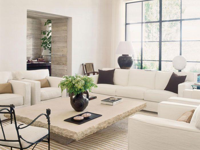 Han amphora on custom Atelier AM limestone table. Custom chairs and sofa in Loro Piana linen and Rogers