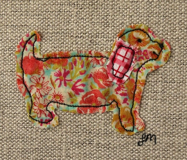 Barking - framed freestyle machine embroidery