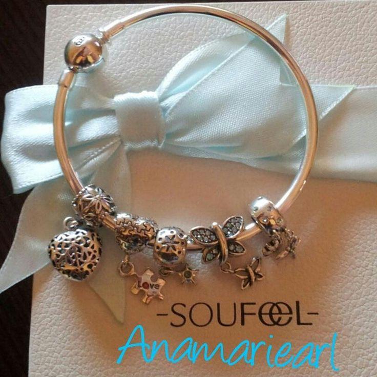 Mi preciosa pulsera de plata con charms de Soufeel.