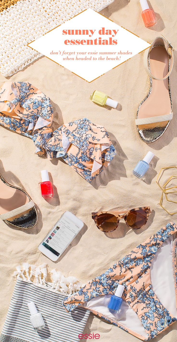 Time to get your beach essentials in order because the essie 2015 summer collection is here! Grab your favorite bikini and go catch some rays in style with the new essie nail polishes.   Be pristine and pretty with sparkling white 'private weekend'. Heat things up with vibrant crimson 'sunset sneaks'. Cool off with creamy pistachio green 'chillato'. Look fresh with sun-ripe coral 'peach side babe'. Stay sweet with soft blue 'saltwater happy'. Or dive in with a marine blue 'pret-a-surfer'.