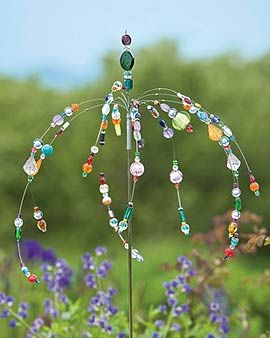 dancing garden jewels stake - tutorial - add glass beads to flexible wire and attach to a decorated pole for the garden
