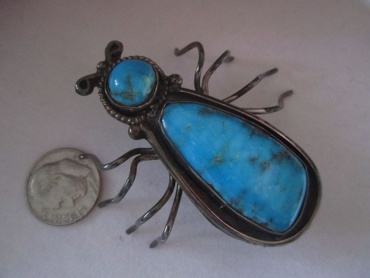Vtg old pawn LRG Navajo turquoise sterling silver SPIDER web bug brooch Pendant