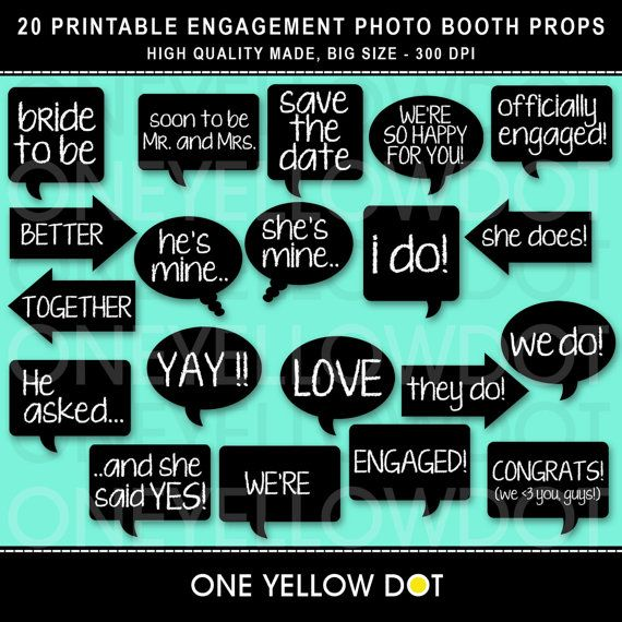 Engagement Photo Booth Props Printable  PDF  by OneYellowDot, $8.00