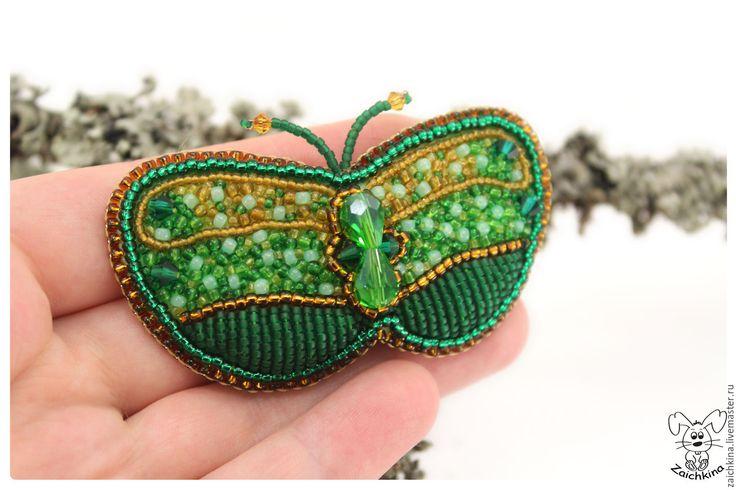 Купить Зеленая брошь бабочка из бисера - зеленый, ярко-зелёный, желтый, брошь ручной работы