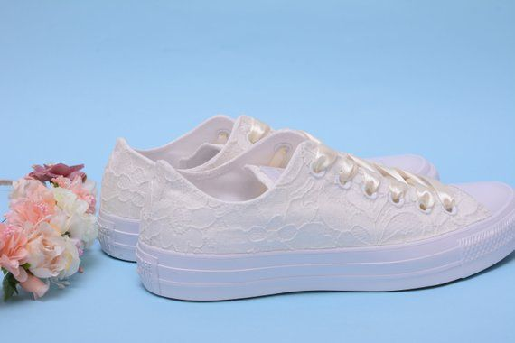 bc4b92024c137 Ivory Lace Wedding Converse Shoes For Bride, Creamy Bridal Converse ...