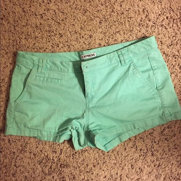Express mint green shorts Express mint green shorts. Good condition. 98% cotton & 2% spandex. Size 6. Express Shorts